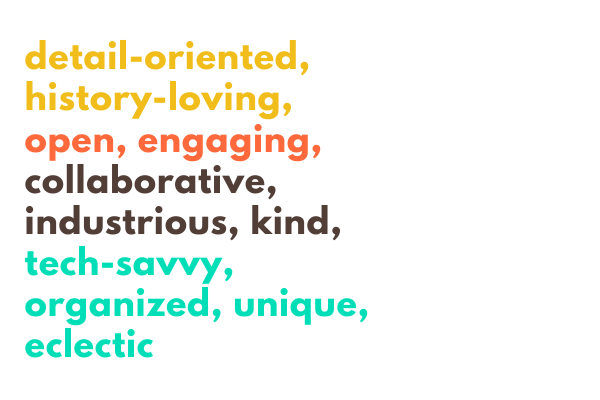 A handful of adjectives in yellow, orange, black, and green