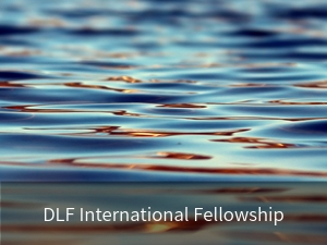 DLF International Fellowship. Background image: ocean water.