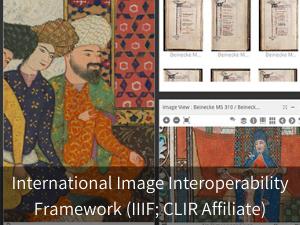 International Image Interoperability Framework (IIIF; CLIR Affiliate). Background image: snapshot from Mirador viewer.