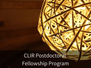 CLIR Postdoctoral Fellowship Program. Background image: decorative woven spherical light fixture.