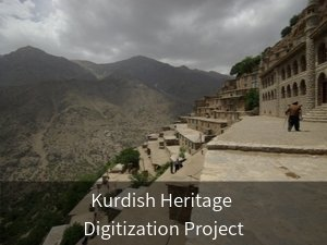 Kurdish Heritage Digitization Project. Background image: Building in Eastern Kurdistan on mountain with man in front.