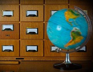 globe and card catalog