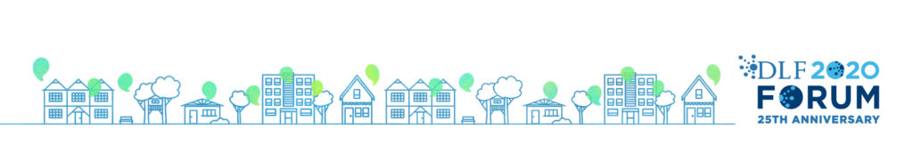 Design for the 2020 event depicts blue houses along the bottom with green speech bubbles coming out of each one.