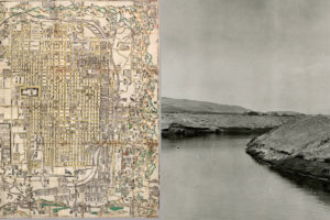 two images side by side. on the left is a japanese map with intricate detail and on the right a photograph of a california aquaduct with still water