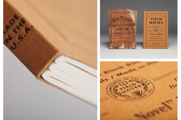 Close up images of the Field Notes notebook including the binding and impressions on the front