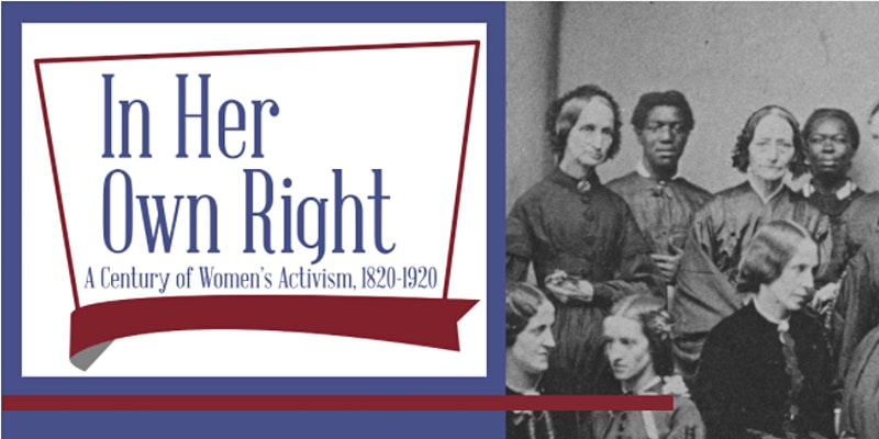 Event title graphic next to an archival image of women posing in two rows