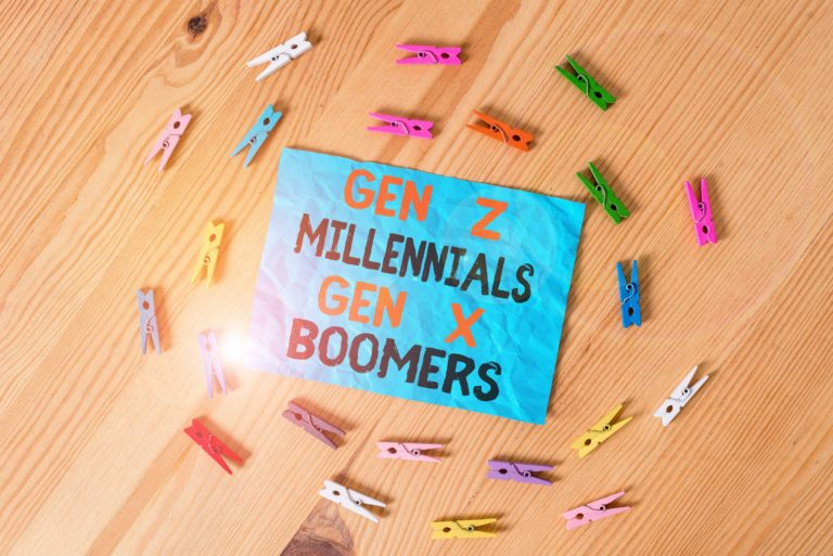 Picture of words Gen Z Millenials Gen X Boomers on blue square surrounded by clothes pins